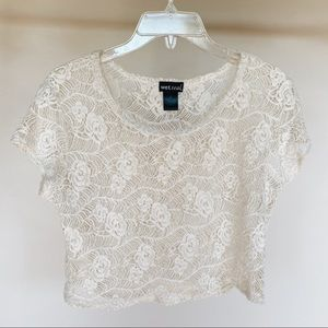 White Floral See Through Crop Top by Wet Seal